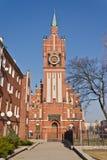 Kyrka av den heliga familjen, neo-gotiskt 20th århundrade. Kaliningrad (till Koenigsberg 1946), Ryssland fotografering för bildbyråer
