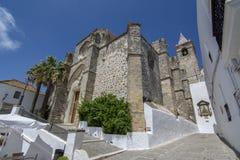Kyrka av den heliga frälsareströmförsörjningskyrkan av Vejer de la Frontera, C royaltyfri foto