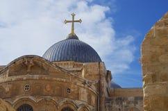 Kyrka av den heliga griften Jerusalem Arkivfoto