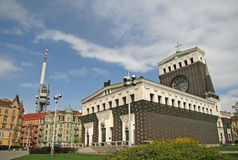 Kyrka av den mest sakrala hjärtan av vår Herre i Prague, Tjeckien arkivfoto