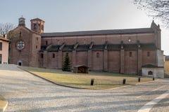 Kyrka av den Morimondo abbotskloster, Milan, Italien Fotografering för Bildbyråer
