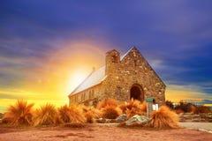 Kyrka av den södra ön Nya Zeeland för bra herde royaltyfri foto