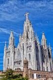 Kyrka av den sakrala hjärtan av Jesus (Tempel Expiatori del Sagrat Cor) på toppmöte av monteringen Tibidabo i Barcelona arkivbild
