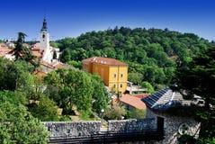 Kyrka av den välsignade jungfruliga Maryen på Trsat i Rijeka, Kroatien Arkivfoto