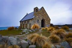 Kyrka av den viktiga gränsmärket för bra herde och den resande destinationen nära den södra ön Nya Zeeland för sjötekapo arkivfoton