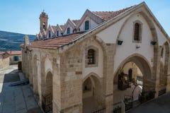 Kyrka av det heliga korset på Omodos Cypern Arkivfoton