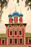 Kyrka av Dimitry på blod Kreml i Uglich Sepiasignalfoto Royaltyfri Bild