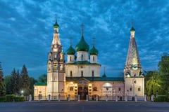 Kyrka av Elijah profeten på skymning i Yaroslavl Royaltyfri Bild