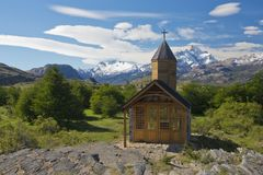Kyrka av Estancia Cristina i nationalpark för Los Glaciares royaltyfri bild