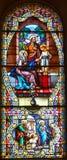 Kyrka av fönstret för målat glass Helgon-Leon-de-Westmount Arkivbilder