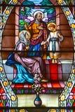 Kyrka av fönstret för målat glass Helgon-Leon-de-Westmount Royaltyfri Fotografi