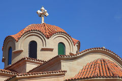 Kyrka av Faliraki på ön av Rhodes Royaltyfria Bilder
