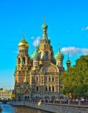 Kyrka av frälsaren på blod i St Petersburg Arkivbild