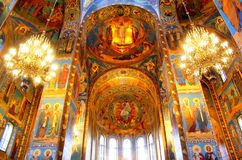 Kyrka av frälsaren på blod i St Petersburg, Ryssland Arkivfoto