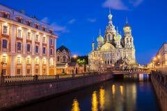 Kyrka av frälsaren på blod, St Petersburg, Ryssland Fotografering för Bildbyråer