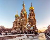 Kyrka av frälsaren på spillt blod i Ryssland Arkivbild