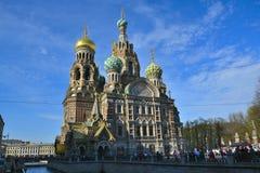 Kyrka av frälsaren på spillt blod, Moskva Arkivbild