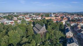 Kyrka av fred i Jawor, Polen, 08 2017 flyg- sikt Arkivbild