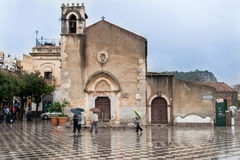 Kyrka av helgonet Augustine Taormina Italy Royaltyfria Bilder