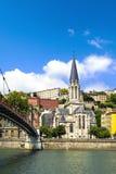 Kyrka av helgonet Georges, Vieux Lyon, Lyon, Frankrike Arkivbilder