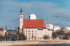 Kyrka av helgonet Jochannis, Jochanniskirche, Magdeburg, Tyskland arkivbild