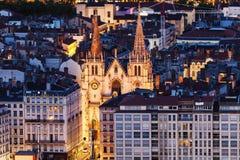 Kyrka av helgonet Nizier i Lyon Royaltyfria Foton