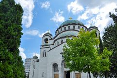 Kyrka av helgonet Sava i Belgrade arkivfoto