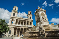 Kyrka av helgonet Sulpice i Paris Royaltyfri Bild