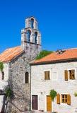 Kyrka av heliga jungfruliga Mary i mitt av den gamla staden Budva, Montenegro Arkivbilder