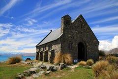 Kyrka av herden i sjön Tekapo i Nya Zeeland Royaltyfri Foto