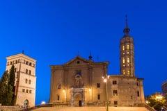Kyrka av Iglesia de San Juan de los Panetes, Zaragoza, Spanien Kopiera utrymme för text fotografering för bildbyråer