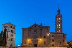 Kyrka av Iglesia de San Juan de los Panetes, Zaragoza, Spanien Kopiera utrymme för text royaltyfri bild