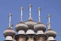Kyrka av interventionen av oskulden, detaljer av kupolerna Royaltyfria Bilder