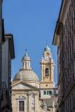 Kyrka av Jesus och Sanktt Andrew i Genoa, Italien Royaltyfri Fotografi