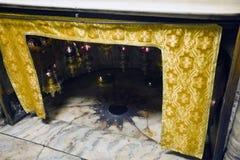 Kyrka av Kristi födelsen, silverstjärna, Betlehem Fotografering för Bildbyråer