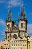Kyrka av modern av guden framme av Tyn, Prague Royaltyfri Bild