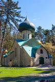 Kyrka av omgestaltningen, början av XX århundradet By av Vladimirovka, Kharkiv region, Ukraina Arkivfoton