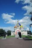 Kyrka av omgestaltningen i Peredelkino, Ryssland Färgfoto Fotografering för Bildbyråer