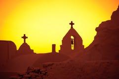 Kyrka av Panagia Paraportiani, solnedgång, Mykonos Arkivfoto