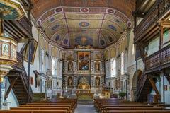 Kyrka av Saint Etienne i Espelette, Frankrike arkivbild