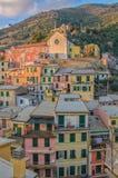 Kyrka av San Francesco, Vernazza, 5 terre, Liguria, Italien royaltyfria foton