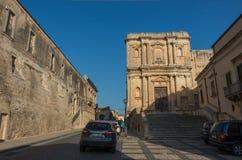 Kyrka av Santa Agata i den Noto staden, Sicilien i Italien Arkivfoto