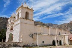 Kyrka av Santa Ana i Maca, Colca kanjon, Peru Royaltyfria Foton