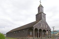 Kyrka av Santa Maria de Loreto på Achao, Quinchao ö, Chile arkivfoto