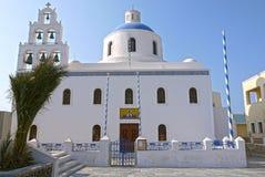 Kyrka av Santorini, Grekland Arkivbilder