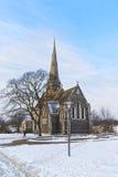 Kyrka av St Alban i vinterKöpenhamn Fotografering för Bildbyråer