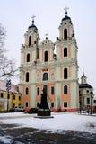 Kyrka av St Catherine på vintertid Arkivbilder