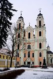 Kyrka av St Catherine på vintertid Royaltyfria Bilder