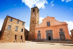 Kyrka av St. Donato. Civita di Bagnoregio. Lazio. Italien Royaltyfria Foton