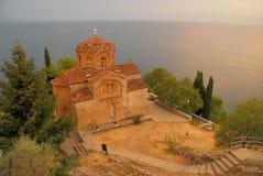 Kyrka av St John på Kaneo, Ohrid, Makedonien (FYROM) Arkivfoton